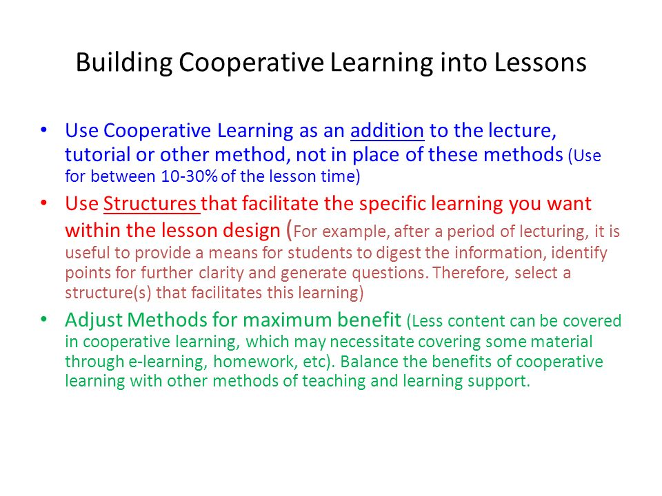 Building Cooperative Learning into Lessons