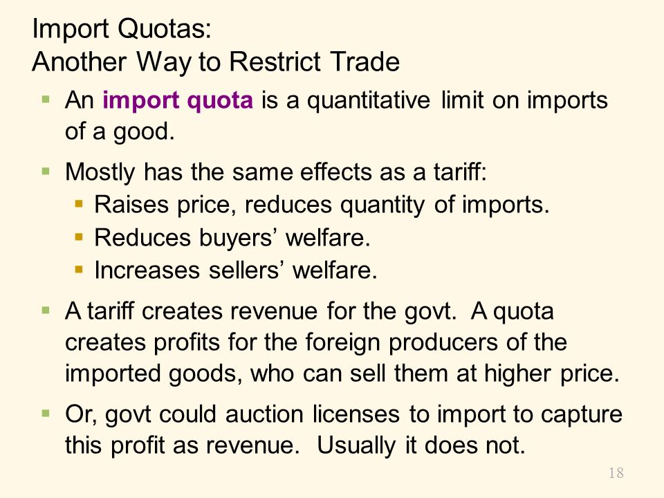 Import Quotas: Another Way to Restrict Trade