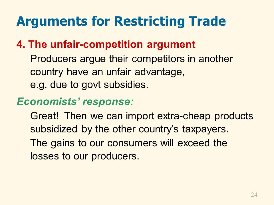 Arguments for Restricting Trade