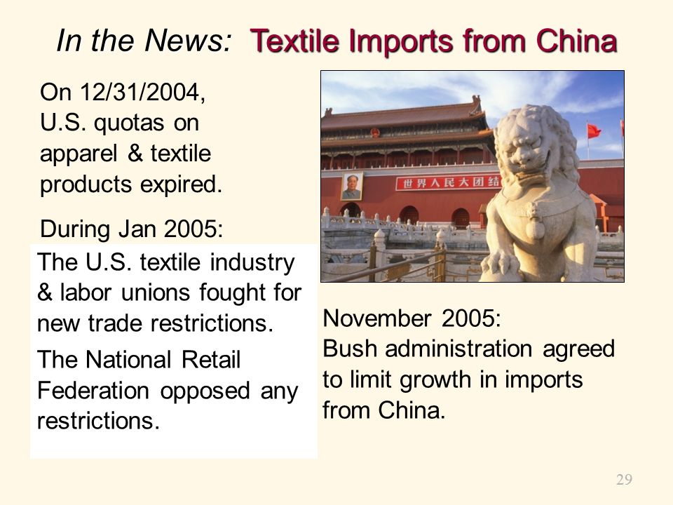 In the News: Textile Imports from China