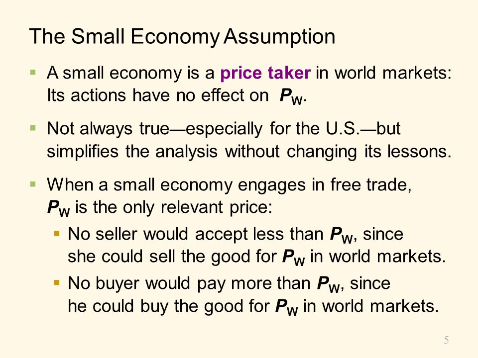 The Small Economy Assumption
