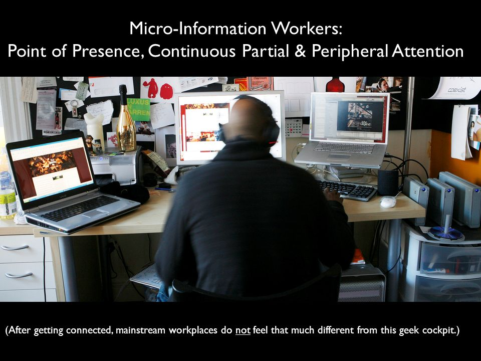 Micro-Information Workers: Point of Presence, Continuous Partial & Peripheral Attention
