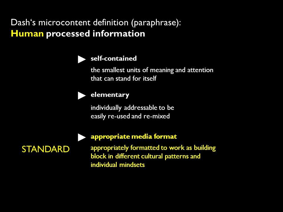 Dash's microcontent definition (paraphrase): Human processed information