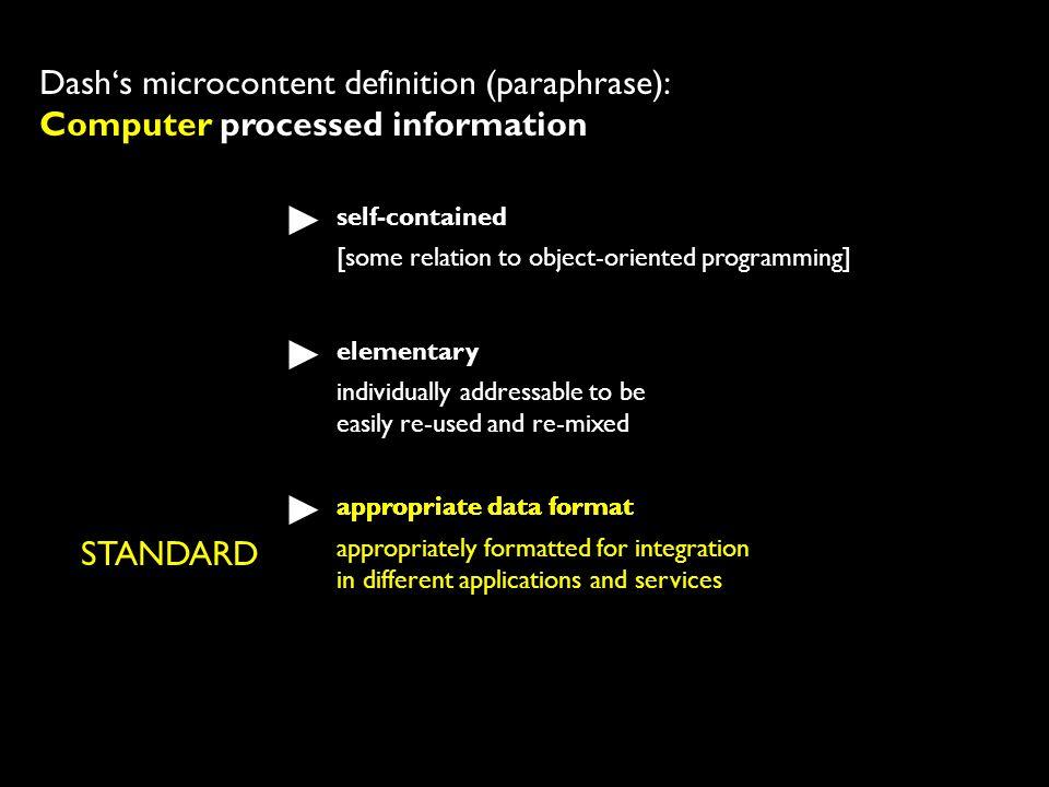 Dash's microcontent definition (paraphrase): Computer processed information