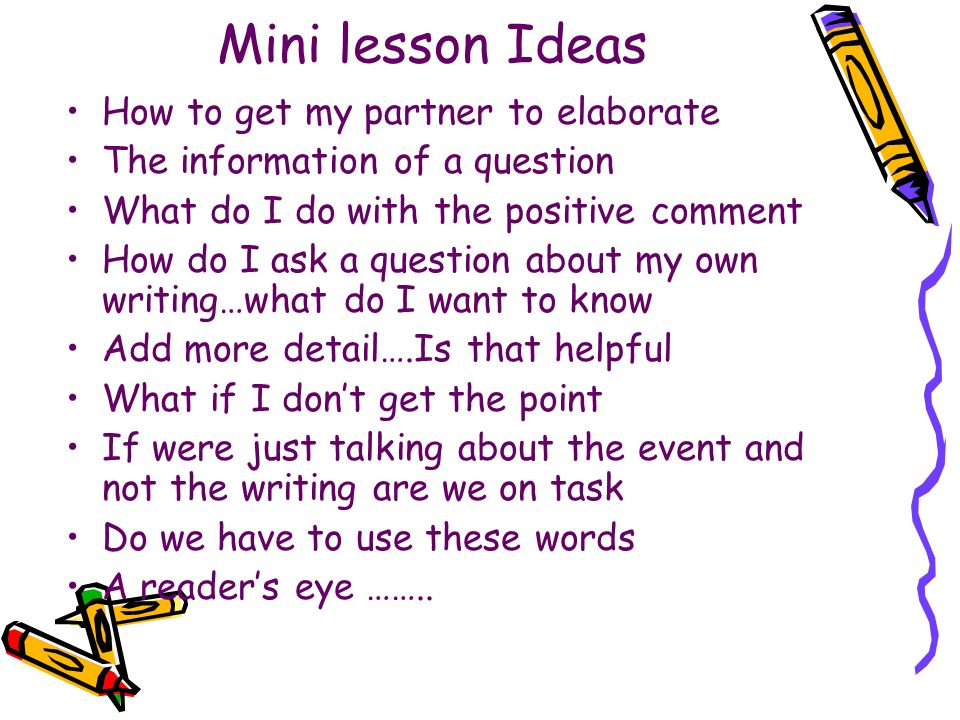 Mini lesson Ideas How to get my partner to elaborate