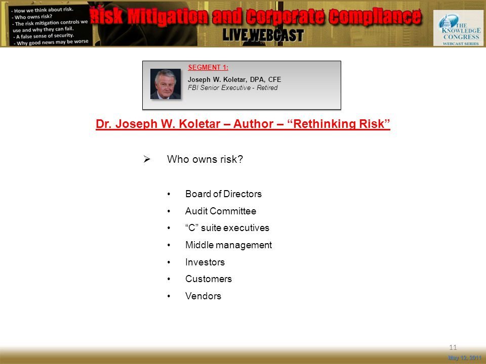 Dr. Joseph W. Koletar – Author – Rethinking Risk