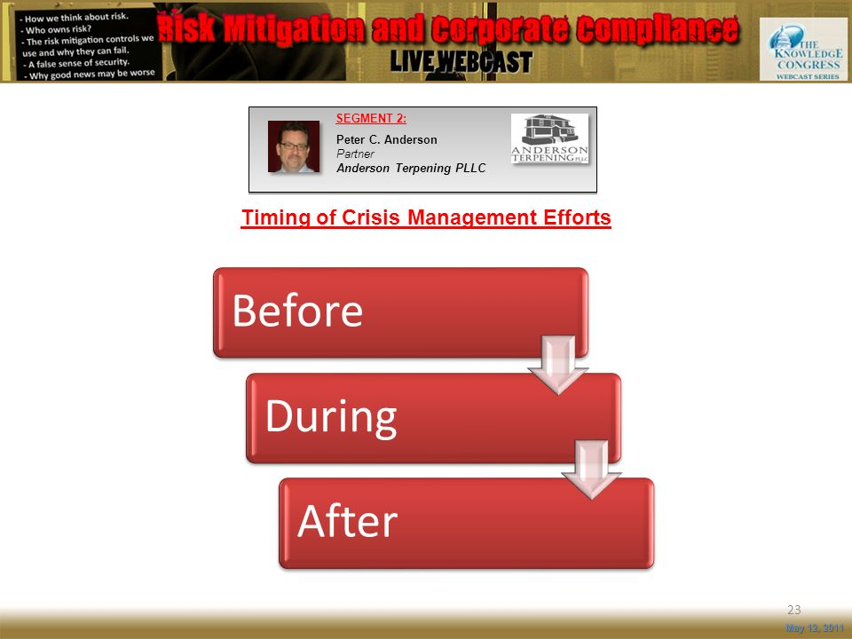 Timing of Crisis Management Efforts