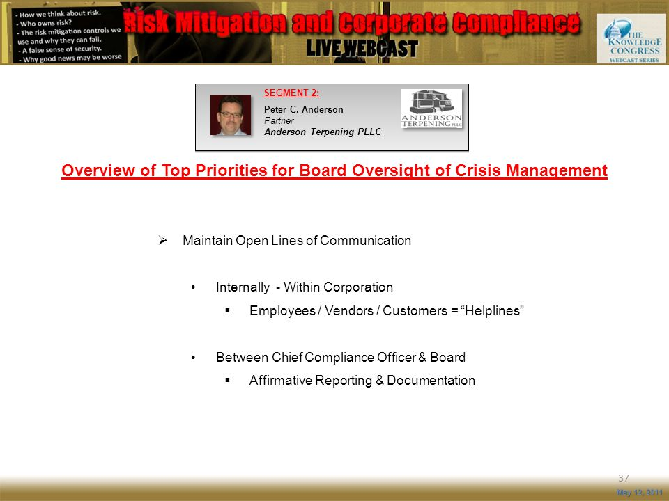 Overview of Top Priorities for Board Oversight of Crisis Management
