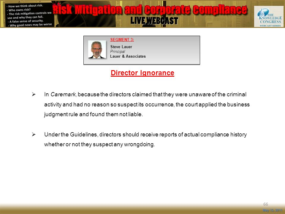 SEGMENT 3: Steve Lauer Principal Lauer & Associates. Director Ignorance.
