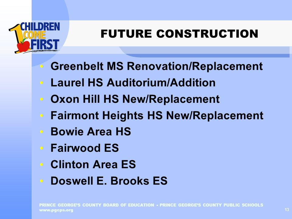 Greenbelt MS Renovation/Replacement Laurel HS Auditorium/Addition