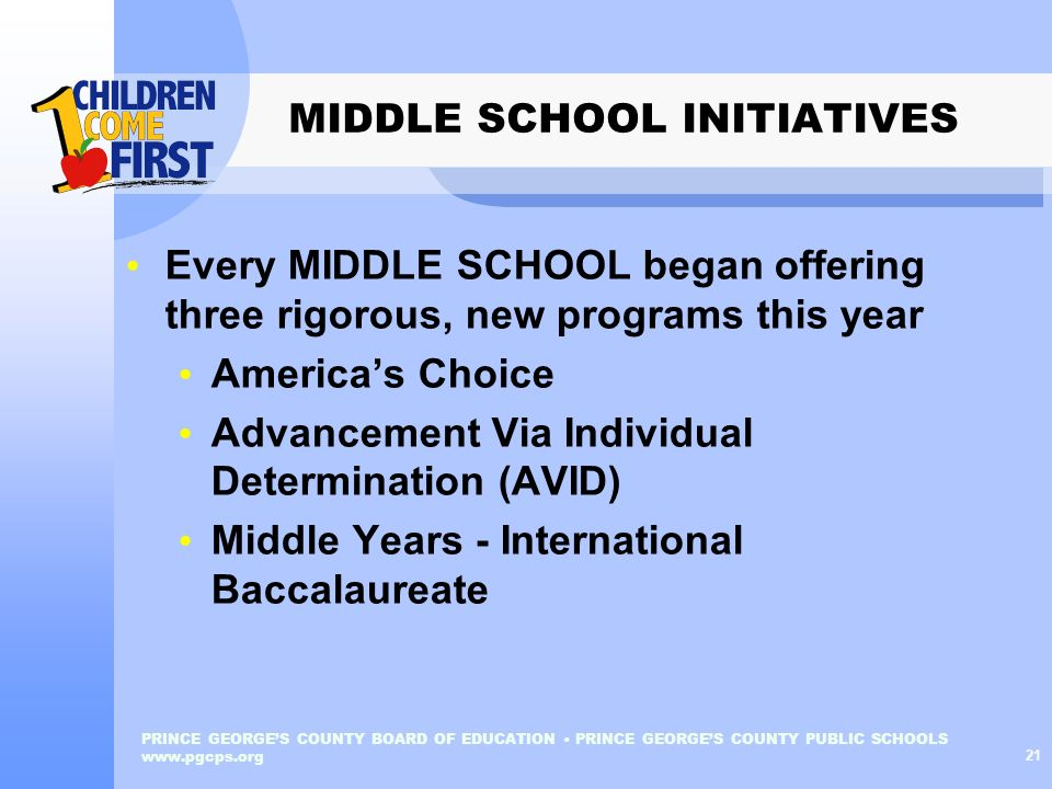 MIDDLE SCHOOL INITIATIVES