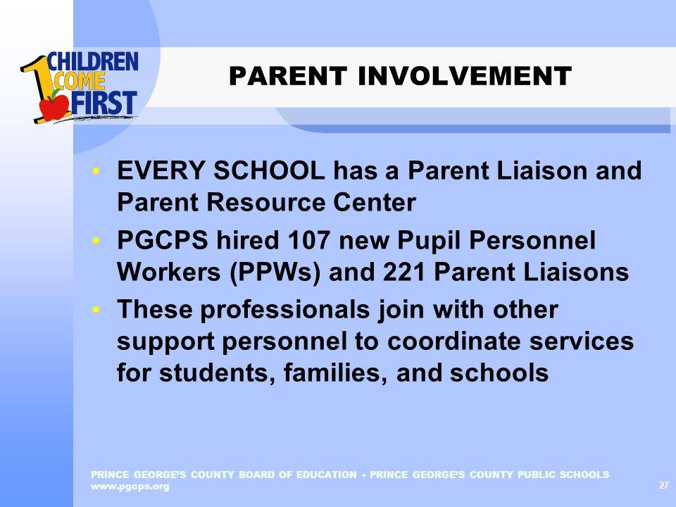 EVERY SCHOOL has a Parent Liaison and Parent Resource Center