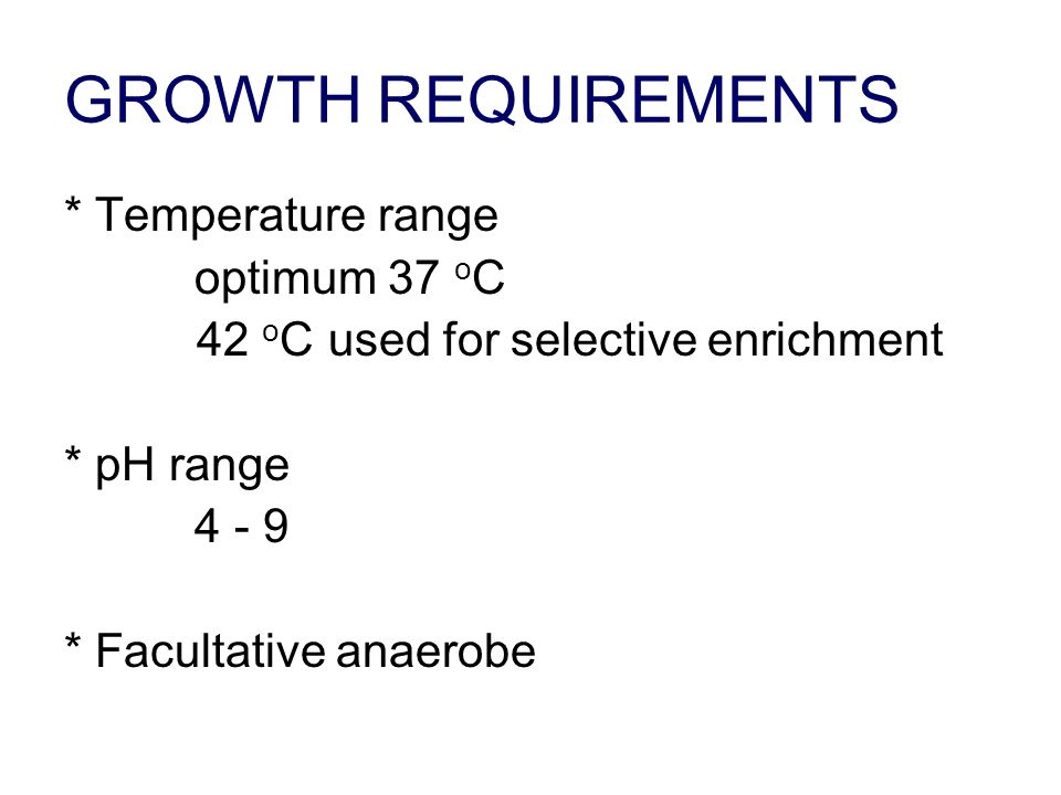GROWTH REQUIREMENTS * Temperature range optimum 37 oC