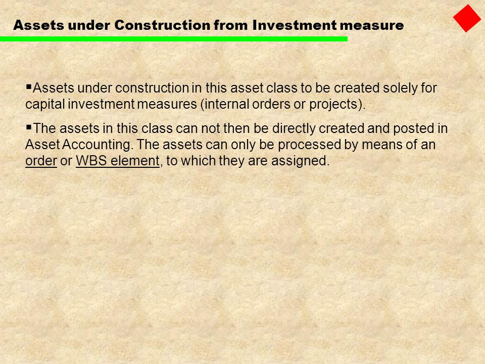 Assets under Construction from Investment measure