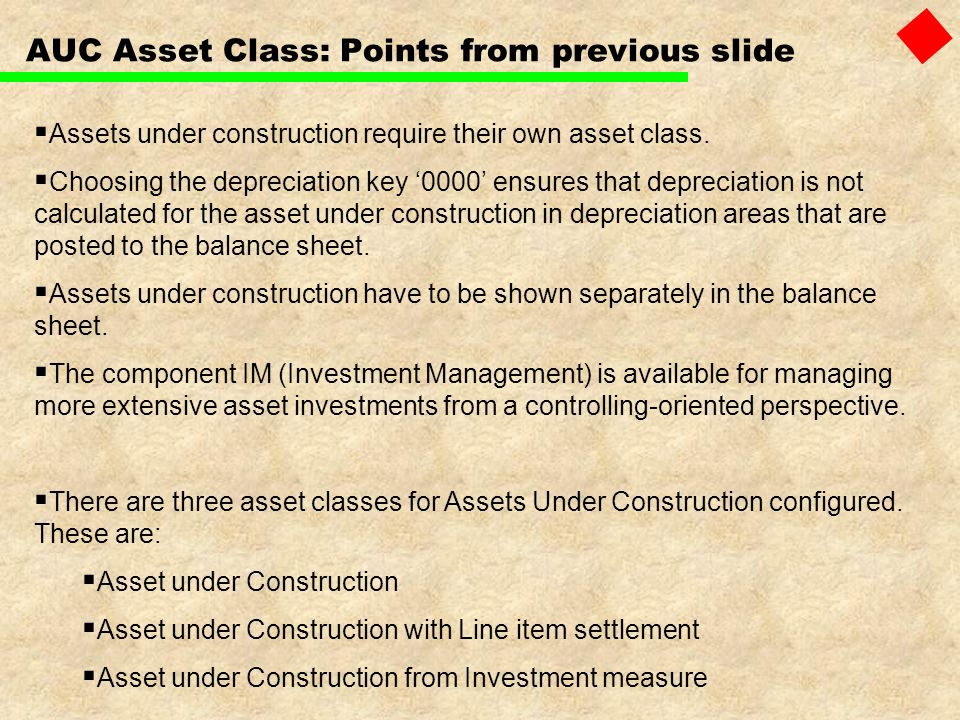 AUC Asset Class: Points from previous slide