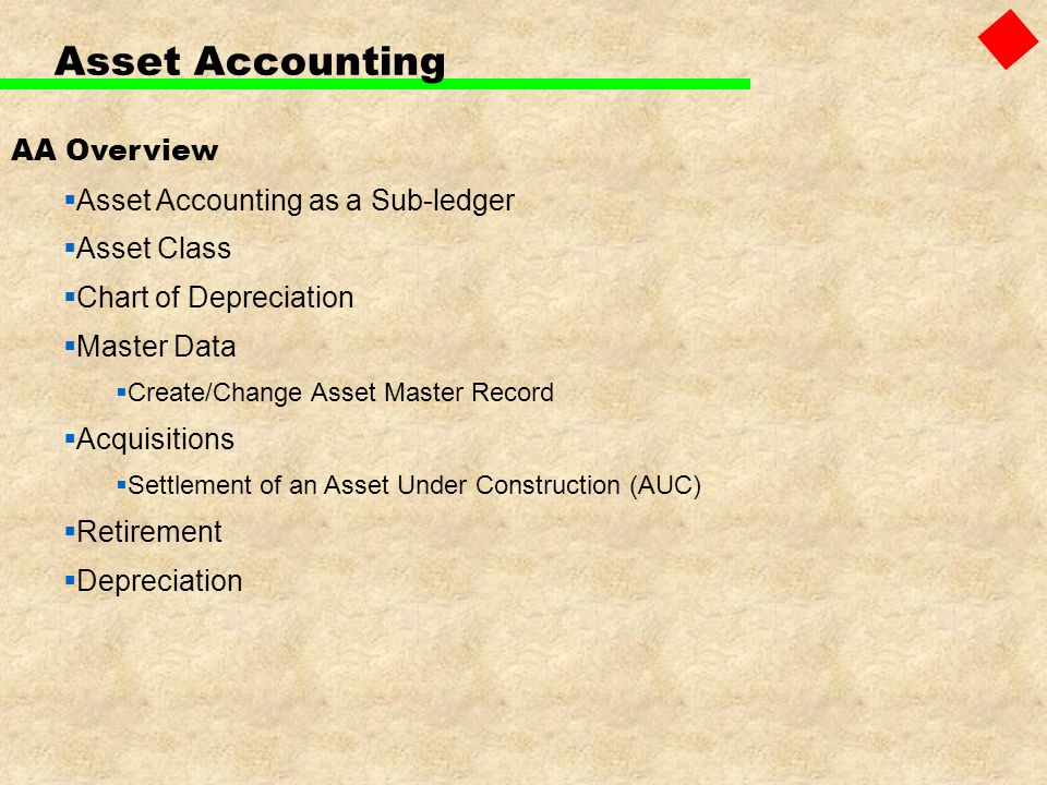 Asset Accounting AA Overview Asset Accounting as a Sub-ledger