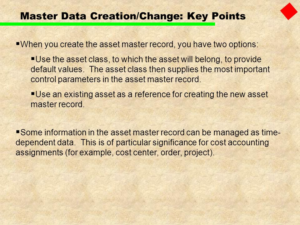 Master Data Creation/Change: Key Points