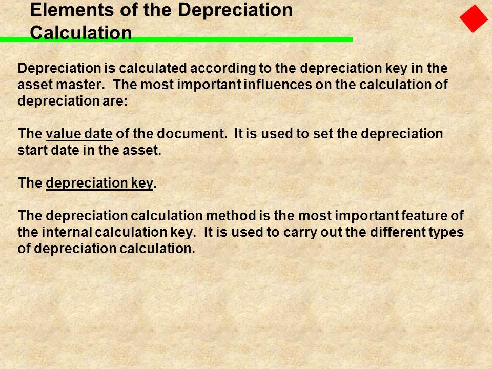 Elements of the Depreciation Calculation