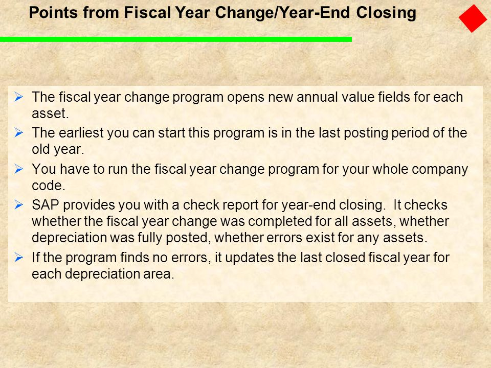 Points from Fiscal Year Change/Year-End Closing