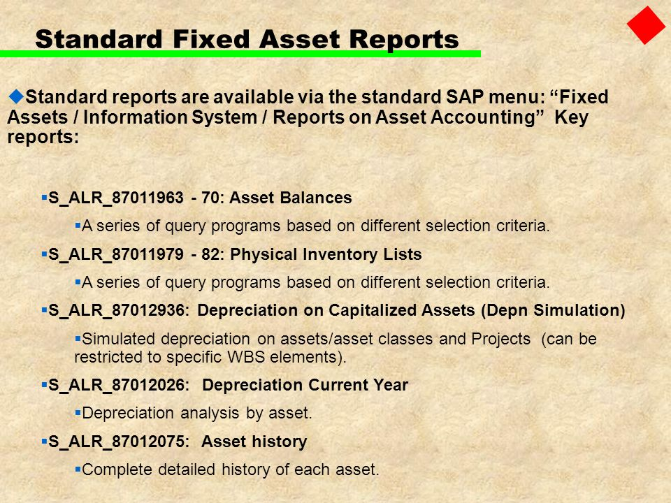 Standard Fixed Asset Reports