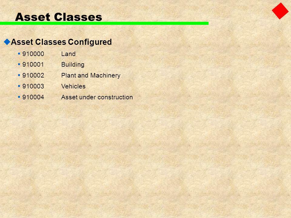 Asset Classes Asset Classes Configured 910000 Land 910001 Building