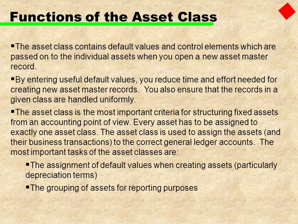 Functions of the Asset Class