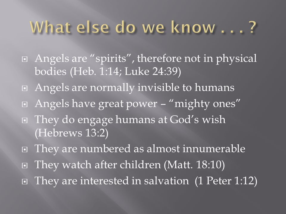 What else do we know . . . Angels are spirits , therefore not in physical bodies (Heb. 1:14; Luke 24:39)