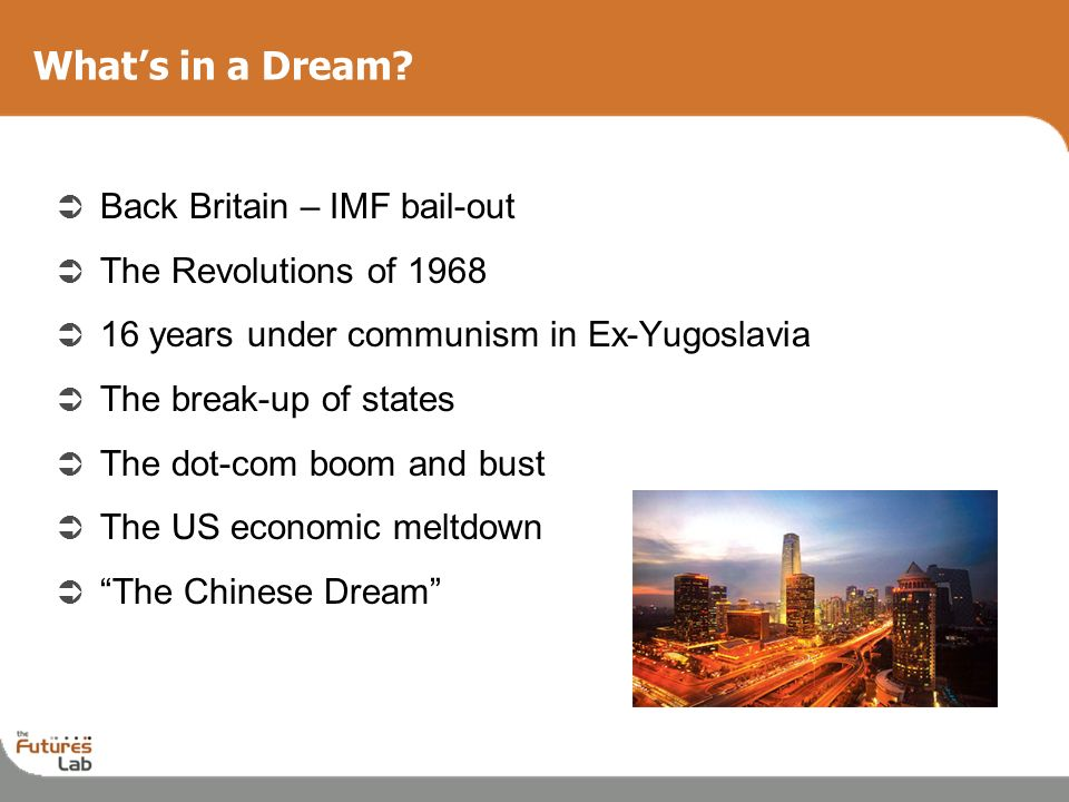 What's in a Dream Back Britain – IMF bail-out The Revolutions of 1968