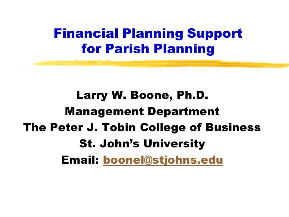 Financial Planning Support for Parish Planning