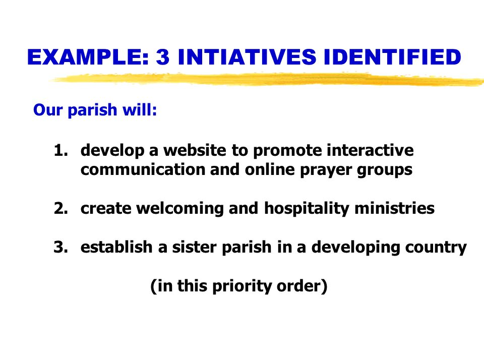EXAMPLE: 3 INTIATIVES IDENTIFIED