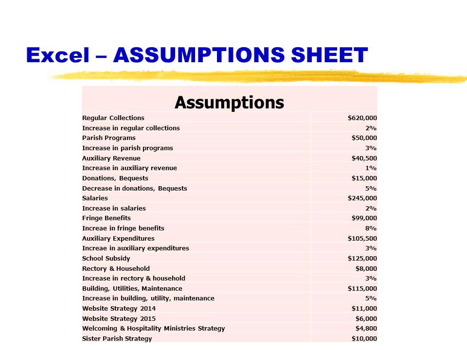 Excel – ASSUMPTIONS SHEET