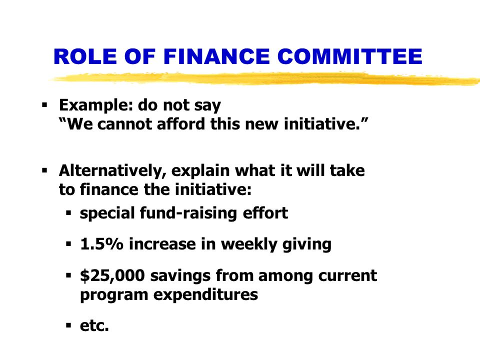 ROLE OF FINANCE COMMITTEE