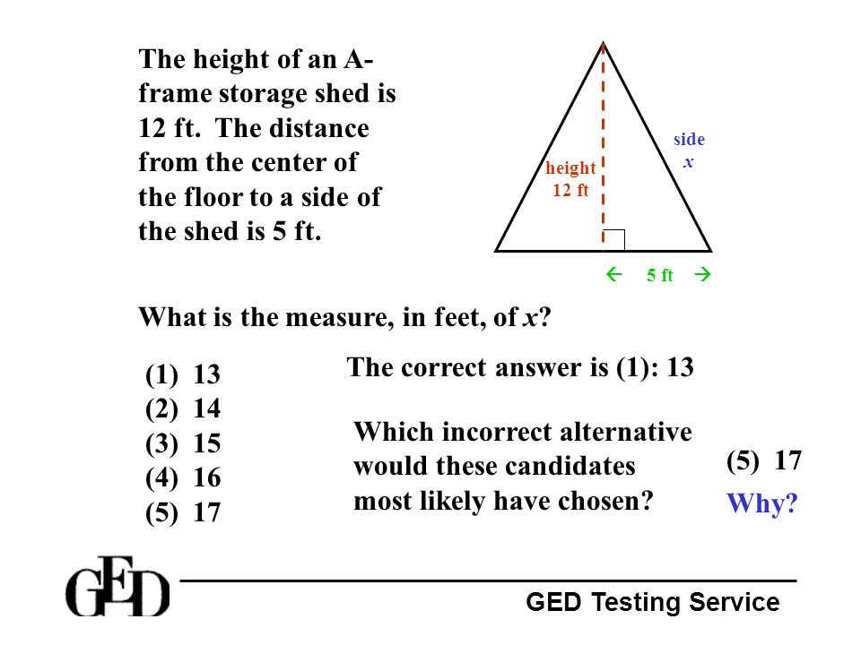 What is the measure, in feet, of x