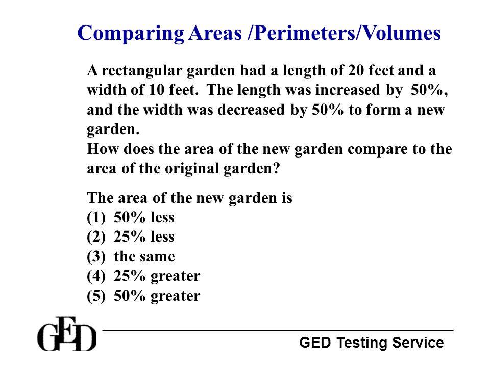 Comparing Areas /Perimeters/Volumes