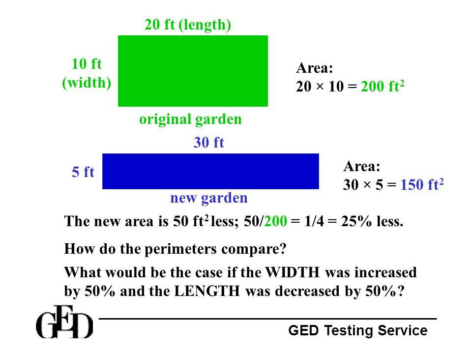 20 ft (length) 10 ft (width) Area: 20 × 10 = 200 ft2. original garden. 30 ft. Area: 30 × 5 = 150 ft2.