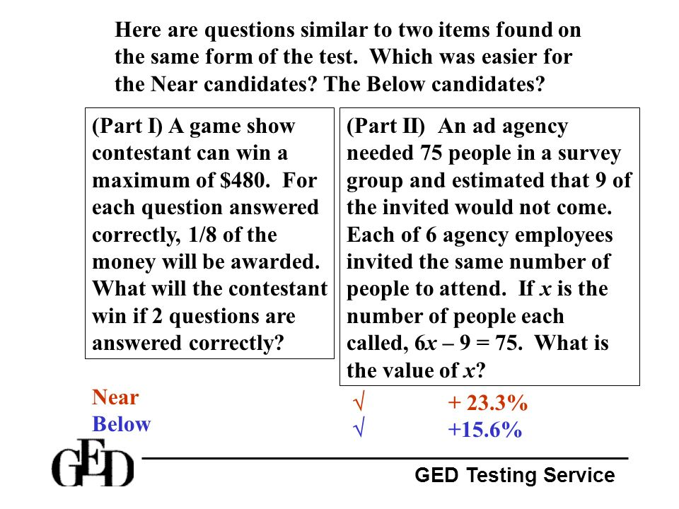 Here are questions similar to two items found on the same form of the test. Which was easier for the Near candidates The Below candidates