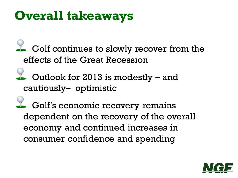 Overall takeawaysGolf continues to slowly recover from the effects of the Great Recession.
