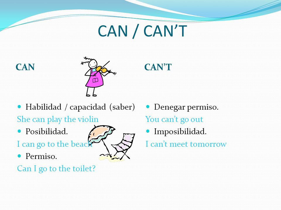 CAN / CAN'T CAN CAN'T Habilidad / capacidad (saber)