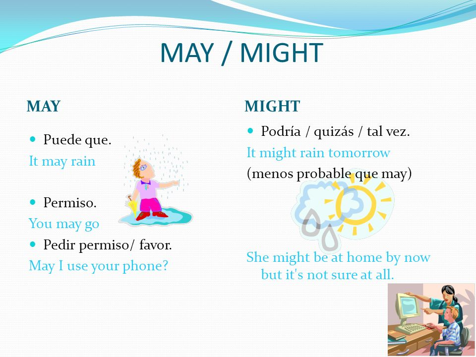 MAY / MIGHT MAY MIGHT Podría / quizás / tal vez.