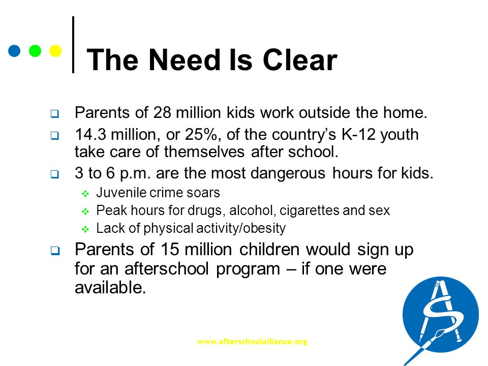 The Need Is Clear Parents of 28 million kids work outside the home.