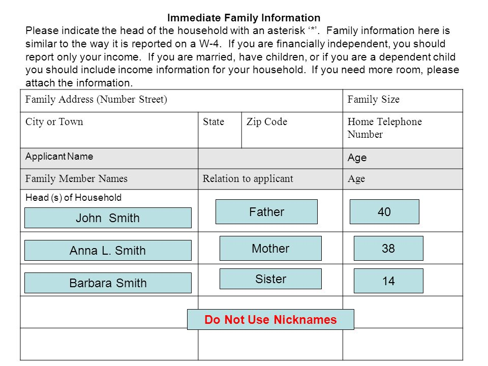 Immediate Family Information