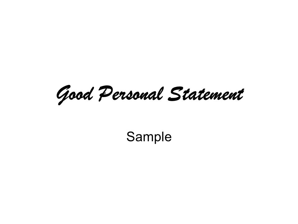 Good Personal Statement