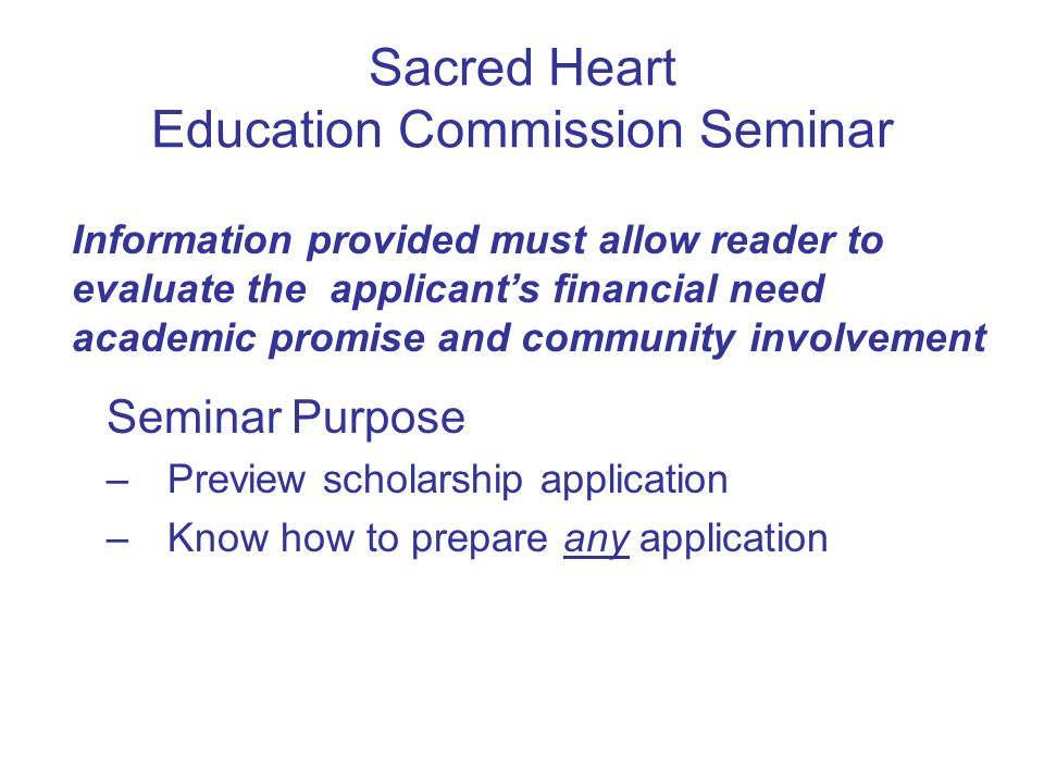 Sacred Heart Education Commission Seminar