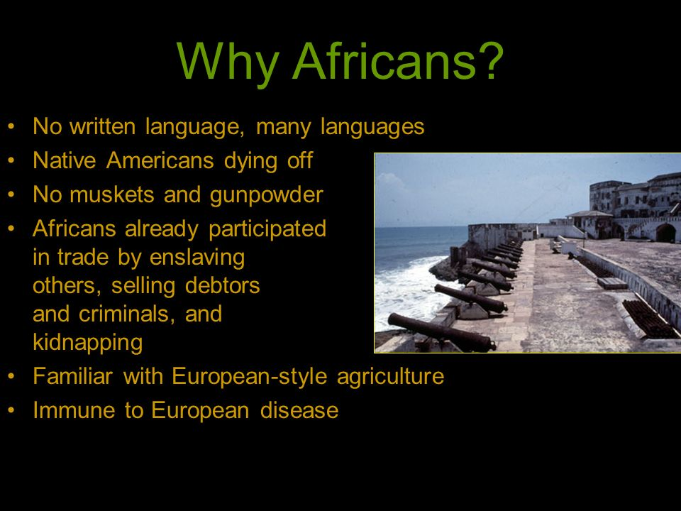 Why Africans No written language, many languages
