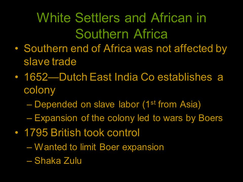 White Settlers and African in Southern Africa