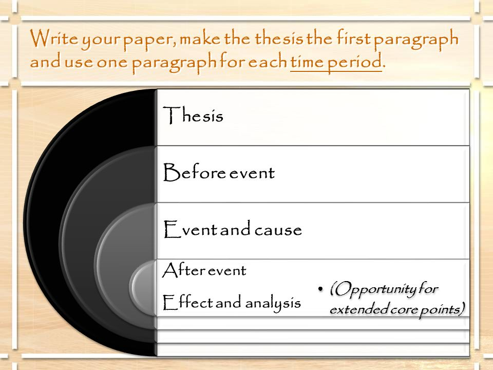 Write your paper, make the thesis the first paragraph and use one paragraph for each time period.