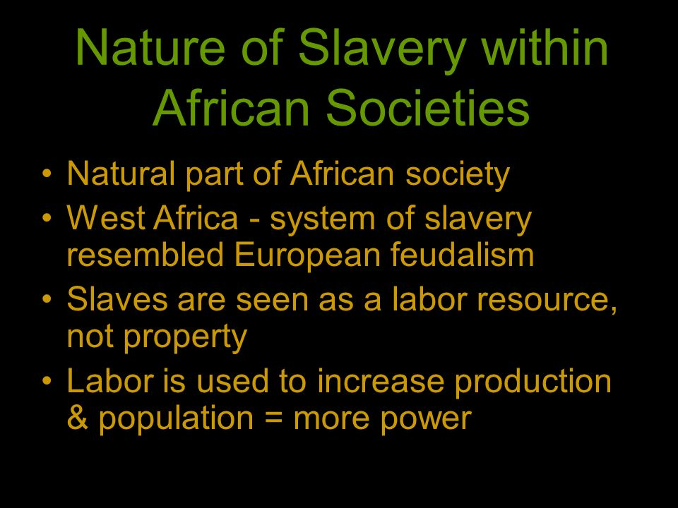 Nature of Slavery within African Societies