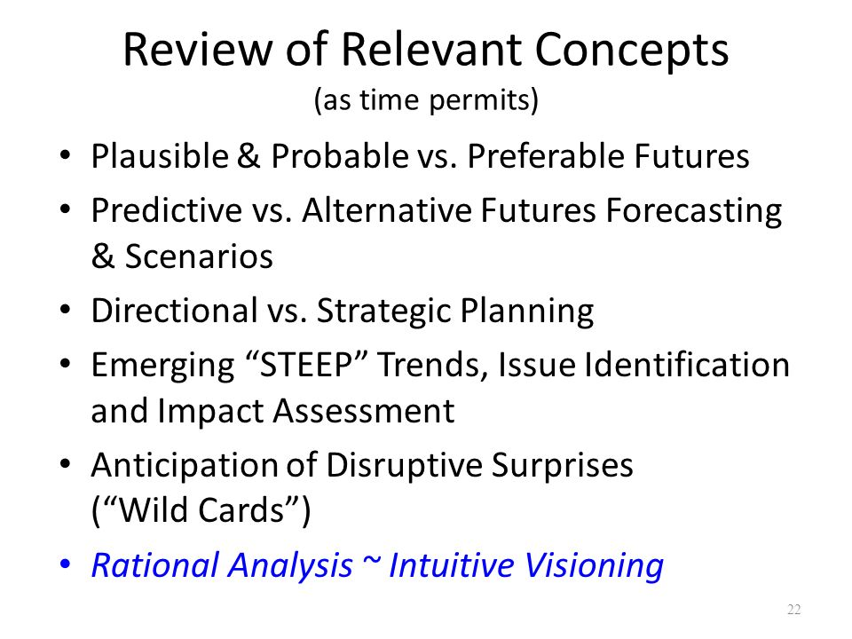 Review of Relevant Concepts (as time permits)