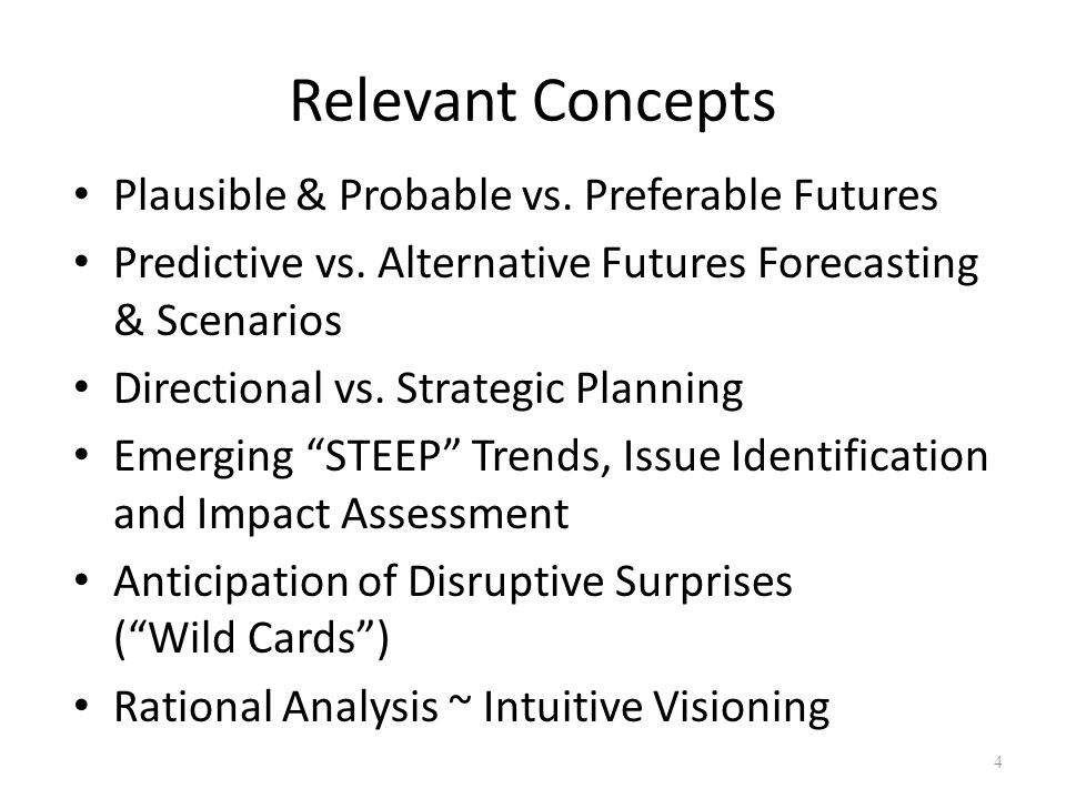 Relevant Concepts Plausible & Probable vs. Preferable Futures