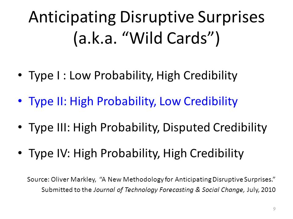 Anticipating Disruptive Surprises (a.k.a. Wild Cards )